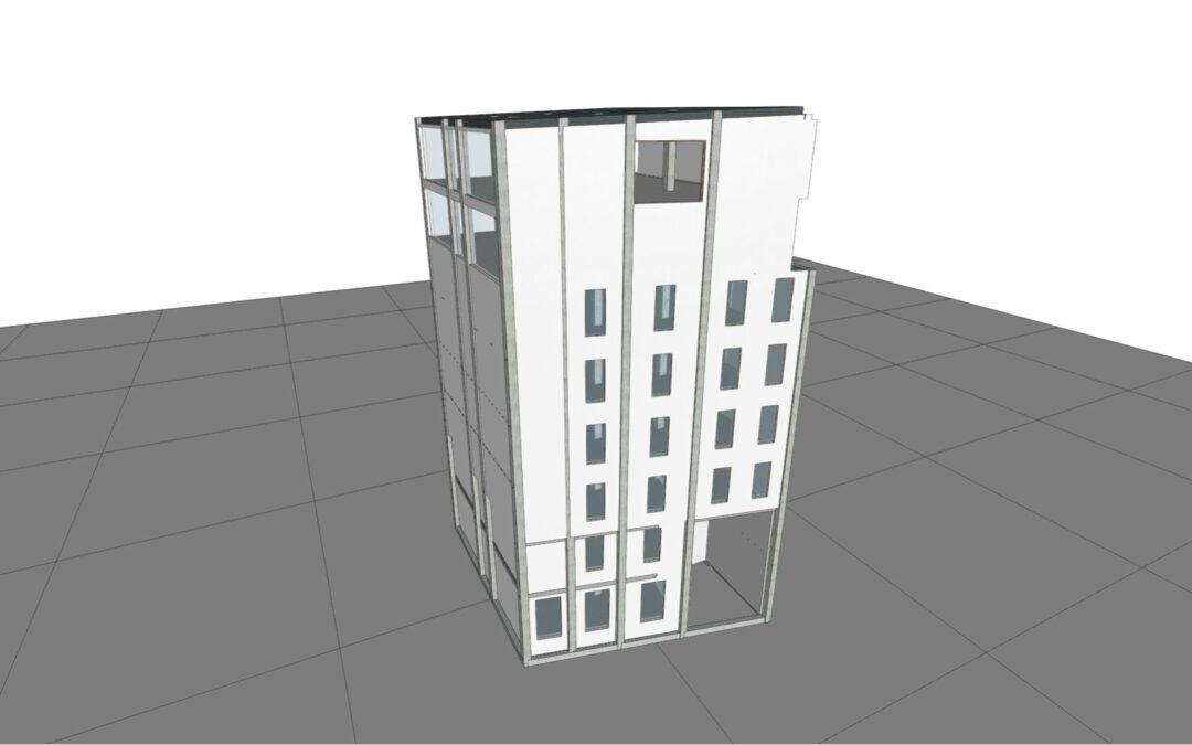 Calificación energética de edificio con cubierta y fachada solar
